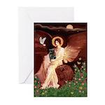 Winged Figure / Black Pug Greeting Cards (Pk of 10