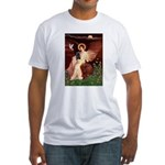 Winged Figure / Black Pug Fitted T-Shirt