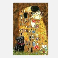 The Kiss / Black Pug Postcards (Package of 8)