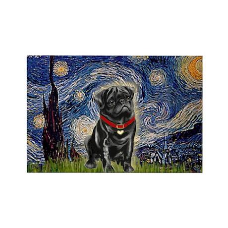 Starry Night / Black Pug Rectangle Magnet