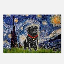 Starry Night / Black Pug Postcards (Package of 8)