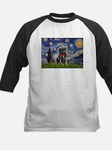 Starry Night / Black Pug Kids Baseball Jersey