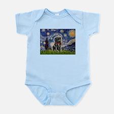 Starry Night / Black Pug Infant Bodysuit