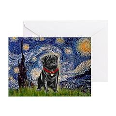 Starry Night / Black Pug Greeting Cards (Pk of 20)