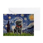 Starry Night / Black Pug Greeting Cards (Pk of 10)