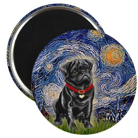 "Starry Night / Black Pug 2.25"" Magnet (10 pack)"
