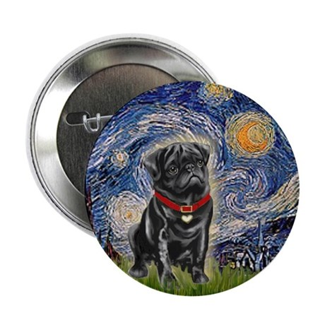 """Starry Night / Black Pug 2.25"""" Button (10 pack)"""