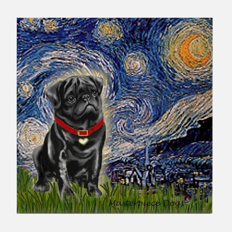 Starry Night / Black Pug Tile Coaster