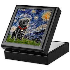 Starry Night / Black Pug Keepsake Box