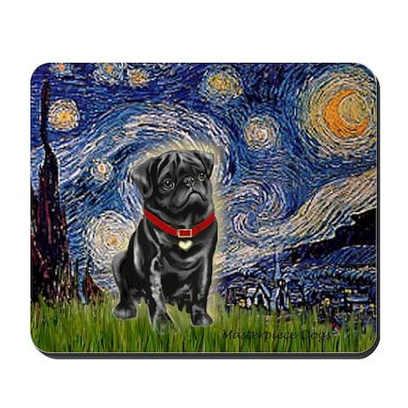 Starry Night / Black Pug Mousepad