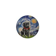 Starry Night / Black Pug Mini Button