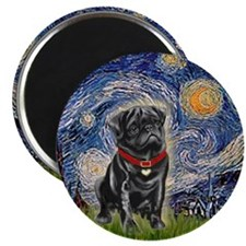 Starry Night / Black Pug Magnet