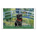 Bridge / Black Pug Sticker (Rectangle)