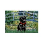 Bridge / Black Pug Rectangle Magnet (10 pack)
