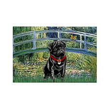 Bridge / Black Pug Rectangle Magnet