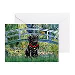 Bridge / Black Pug Greeting Cards (Pk of 10)