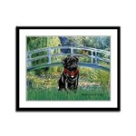 Bridge / Black Pug Framed Panel Print
