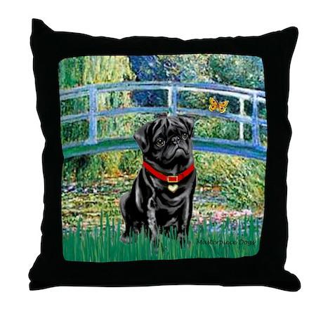 Bridge / Black Pug Throw Pillow