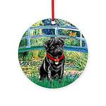Bridge / Black Pug Ornament (Round)