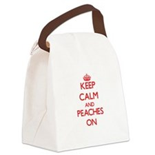 Keep Calm and Peaches ON Canvas Lunch Bag
