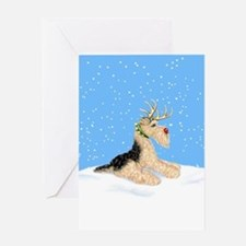 Airedale Christmas Dale Deer Greeting Card