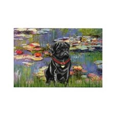 Lilies (#2) & Black Pug Rectangle Magnet