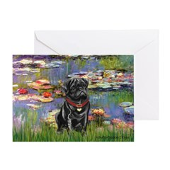Lilies (#2) & Black Pug Greeting Card