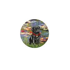 Lilies (#2) & Black Pug Mini Button (10 pack)