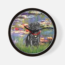Lilies (#2) & Black Pug Wall Clock