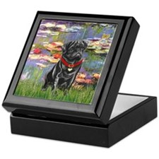 Lilies (#2) & Black Pug Keepsake Box