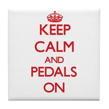 Keep Calm and Pedals ON Tile Coaster