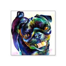 "Unique Pug art Square Sticker 3"" x 3"""