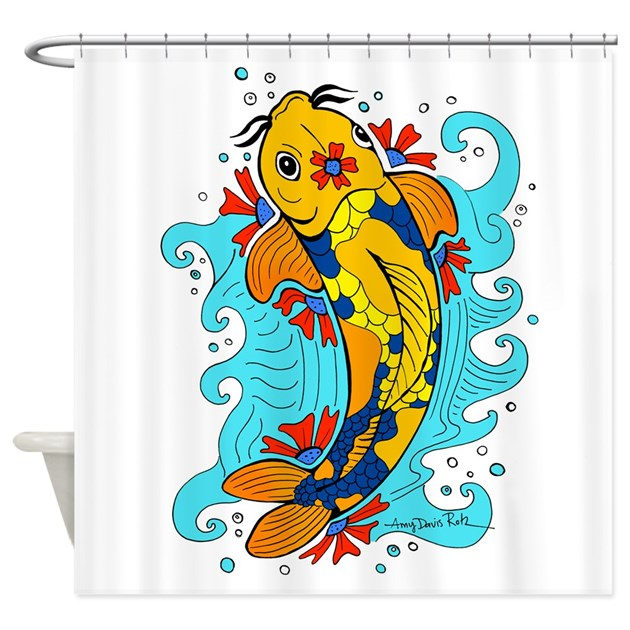 Tattoo style koi fish shower curtain by madartlab for How to shower with a new tattoo