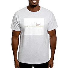 Orange English Setter on Chukar Ash Grey T-Shirt