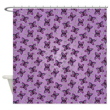 Purple Butterfly Pattern Shower Curtain By Admin Cp1053336