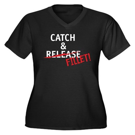 Catch & Fillet Women's Plus Size V-Neck Dark T-Shi