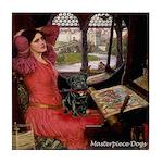Lady / Black Pug Tile Coaster