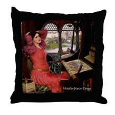 Lady / Black Pug Throw Pillow