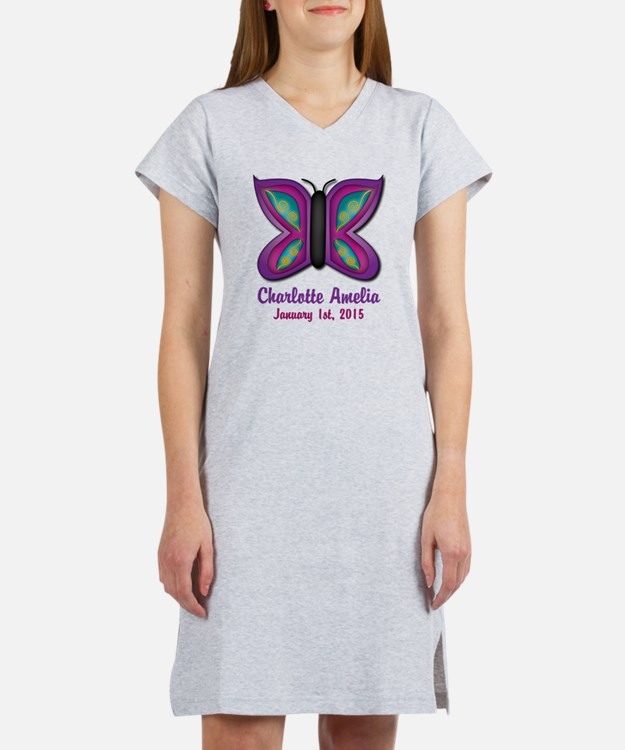 CUSTOM Butterfly Baby Name and Birthdate Women's N