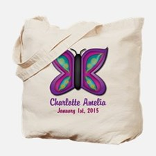 CUSTOM Butterfly Baby Name and Birthdate Tote Bag