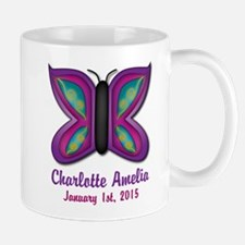 CUSTOM Butterfly Baby Name and Birthdate Mugs