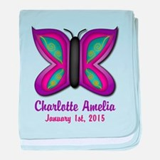 CUSTOM Butterfly Baby Name and Birthdate baby blan