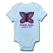 CUSTOM Butterfly Baby Name and Birthdate Body Suit