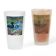 Loons and Lilies Drinking Glass