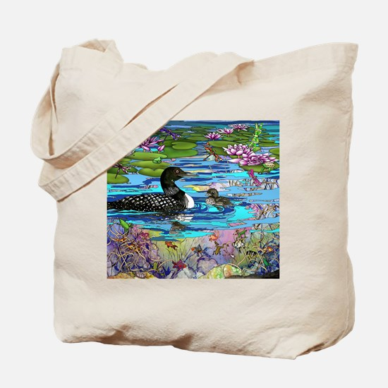 Loons and Lilies Tote Bag