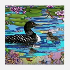 Loons and Lilies Tile Coaster