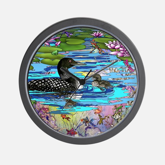Loons and Lilies Wall Clock