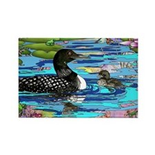 Loons and Lilies Rectangle Magnet (100 pack)