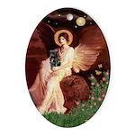 Winged Figure / Black Pug Ornament (Oval)