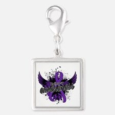 Epilepsy Awareness 16 Silver Square Charm